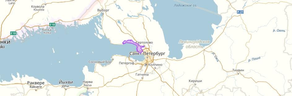 Курортный район на карте