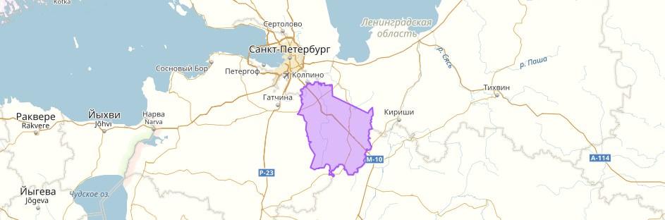 Тосненский район на карте
