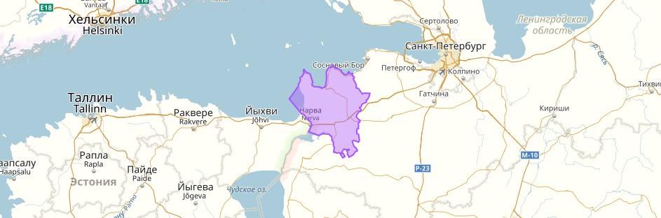 Кингисеппский район на карте