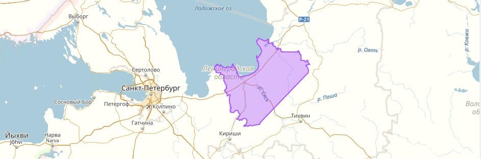 Волховский район на карте