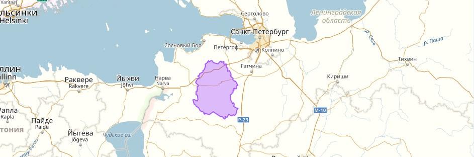 Волосовский район на карте