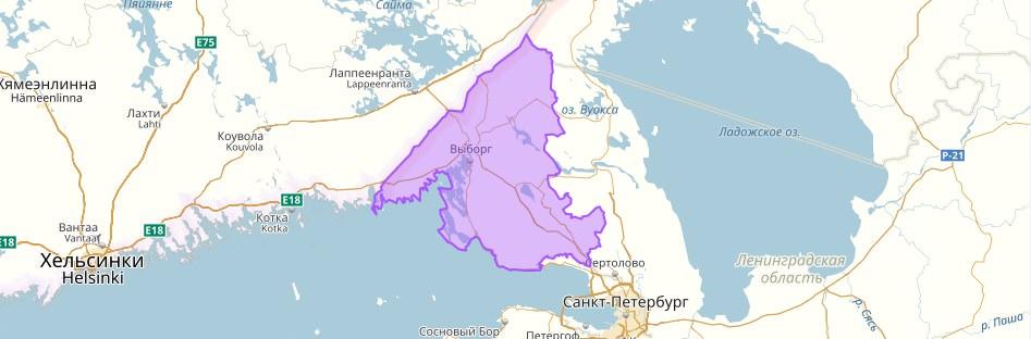 Выборгский район на карте